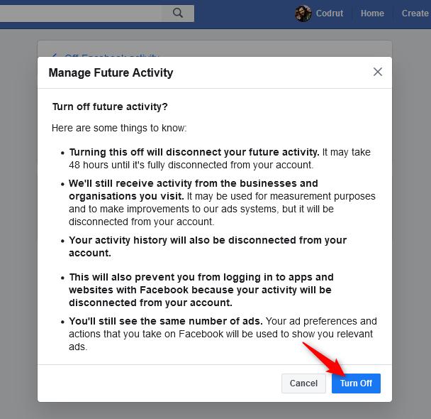 Confirmar que desea desactivar la futura actividad fuera de Facebook