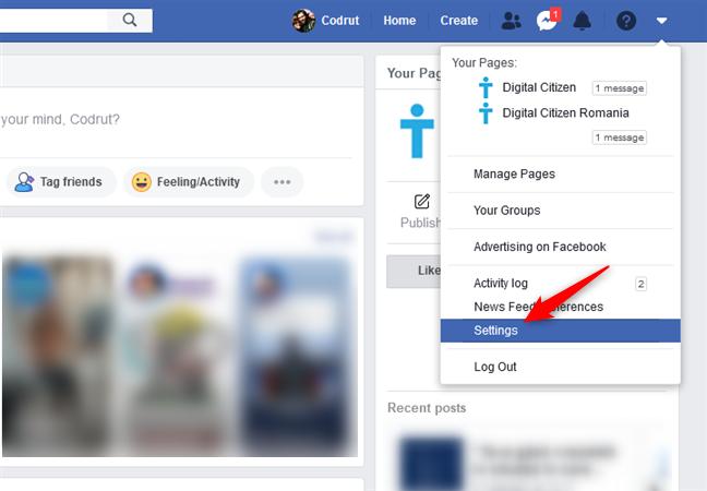 Acceder a la configuración de Facebook