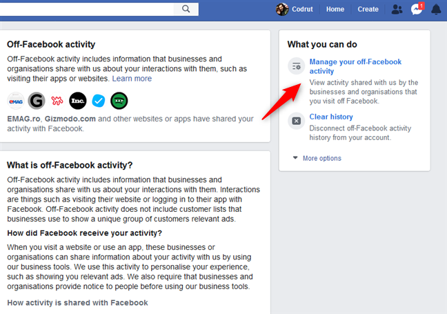 Manage your off-Facebook activity