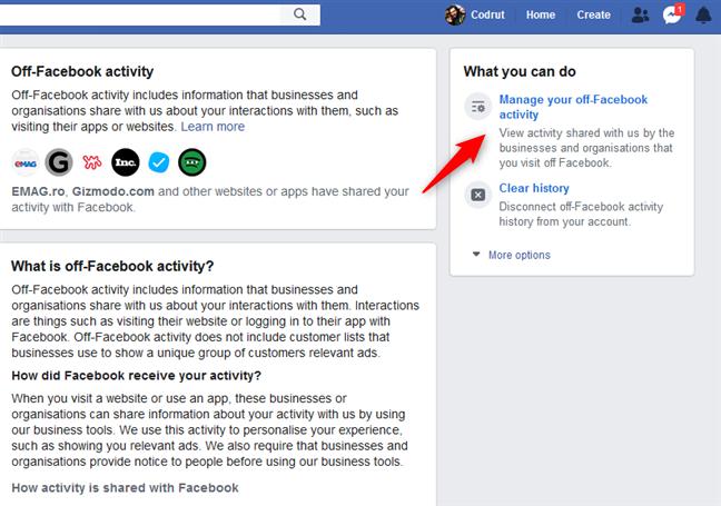 Administre su actividad fuera de Facebook