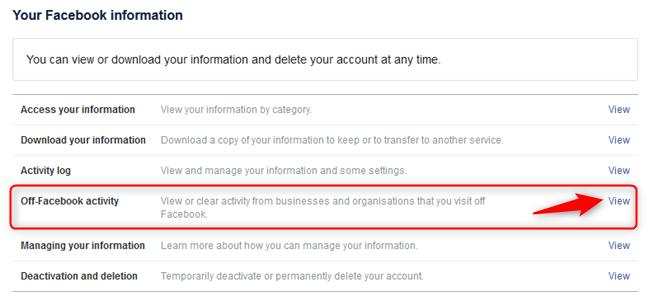 Elegir ver su actividad fuera de Facebook