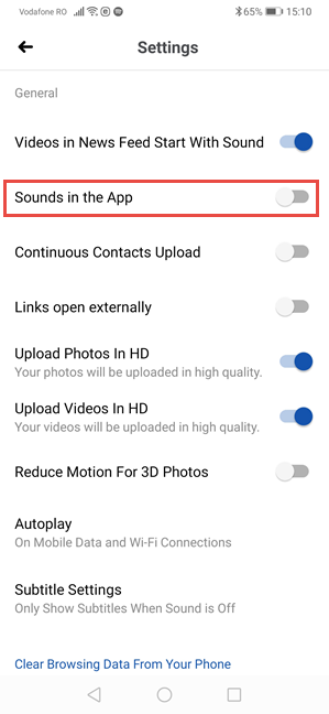 Facebook for Android - Disable Sounds in the App