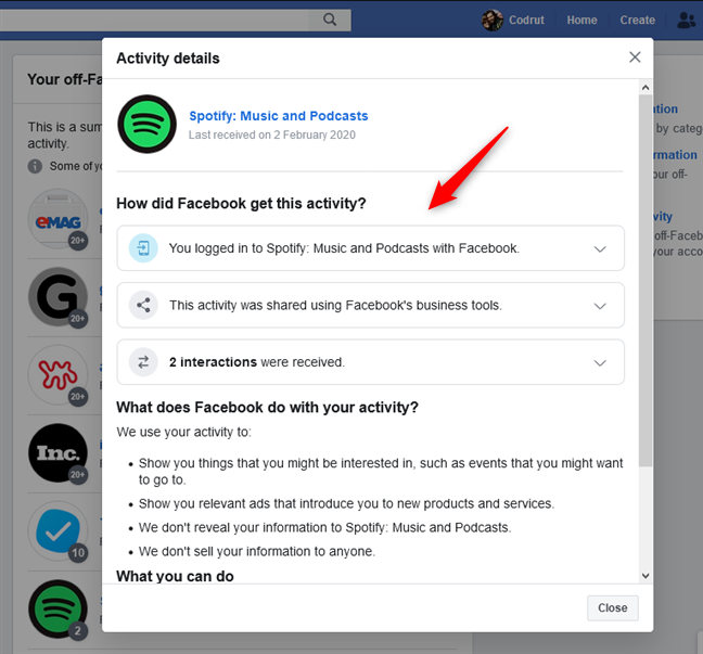 Activity details from an app to which you logged in with your Facebook account