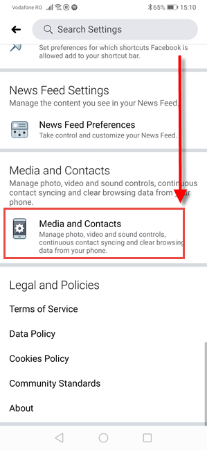 Facebook for Android - Tap Media and Contacts