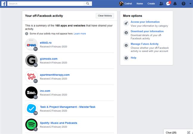 Tu actividad fuera de Facebook