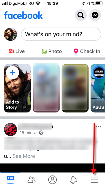 Facebook for iPhone - Tap the Menu button