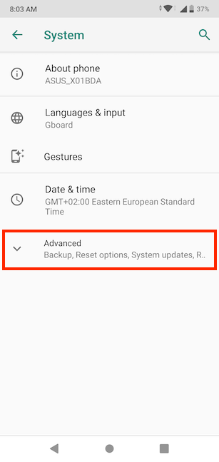 Tap on Advanced in System settings