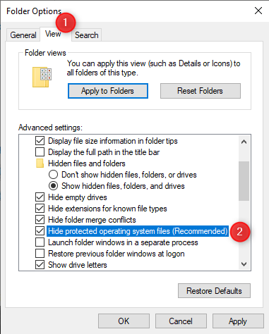 Folder Options - Enabling the viewing of protected operating system files