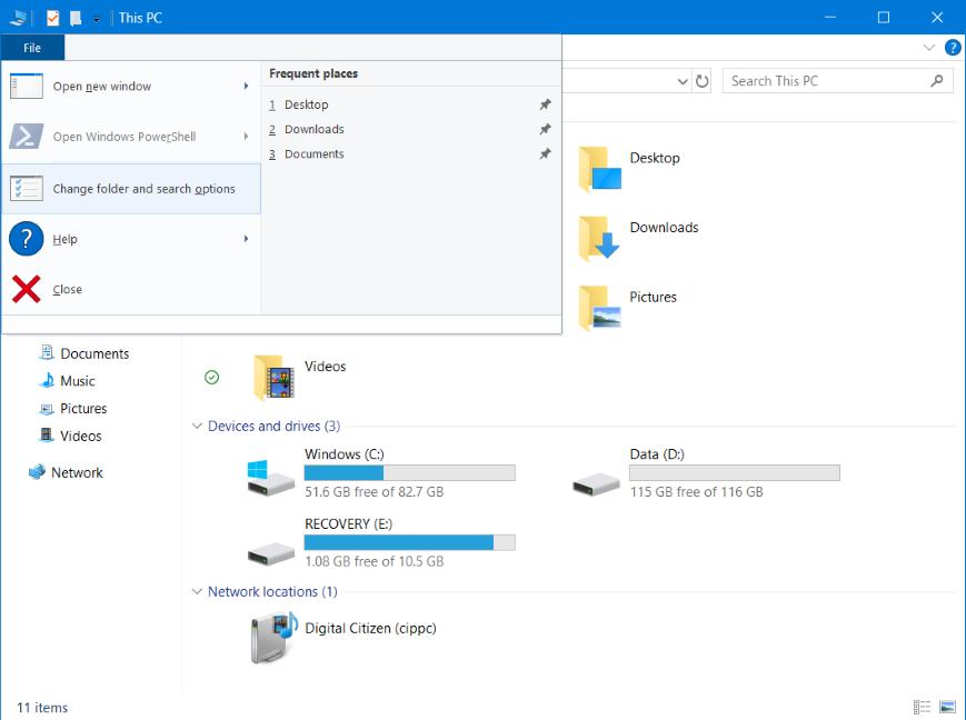 Access Folder Options for File Explorer