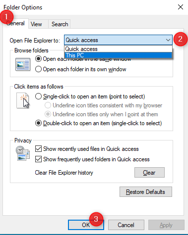 Set File Explorer to open This PC