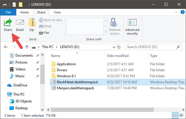 File Explorer, Windows, share