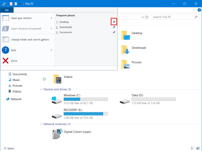 The File menu in File Explorer - pinning frequent folders