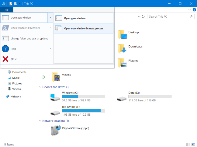 Open File Explorer in a new process