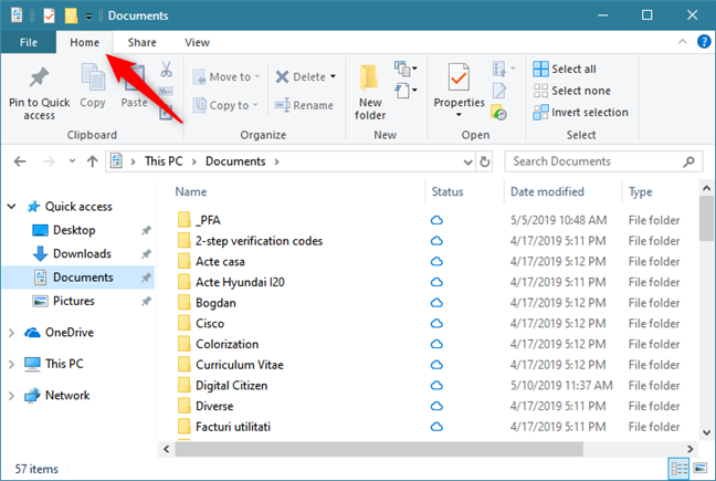 The Home tab from File Explorer