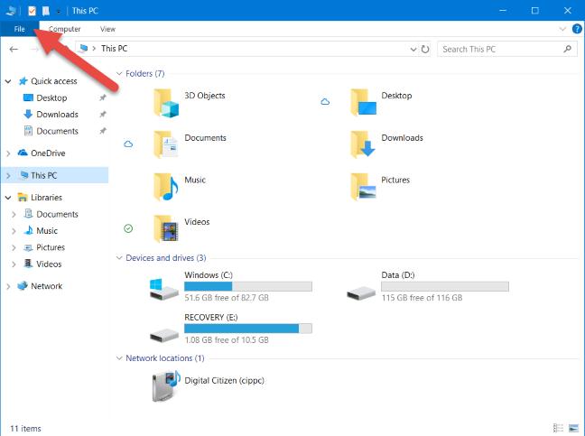 The File tab in File Explorer
