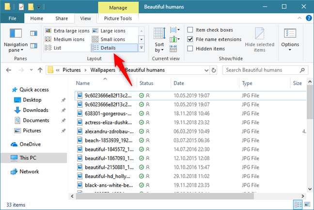Viewing Details about files and folders, in File Explorer