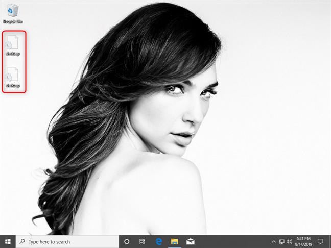 Dos archivos desktop.ini en el escritorio de Windows 10