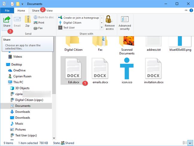 File Explorer, Share, files, Windows 10