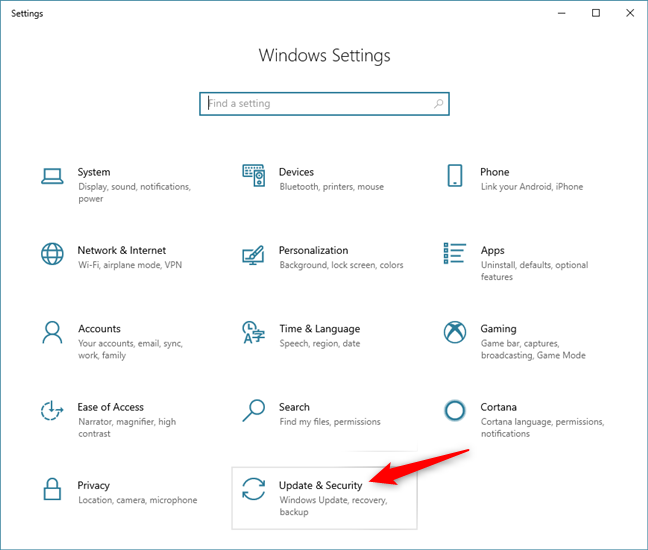 The Update & Security section from the Windows 10 Settings app