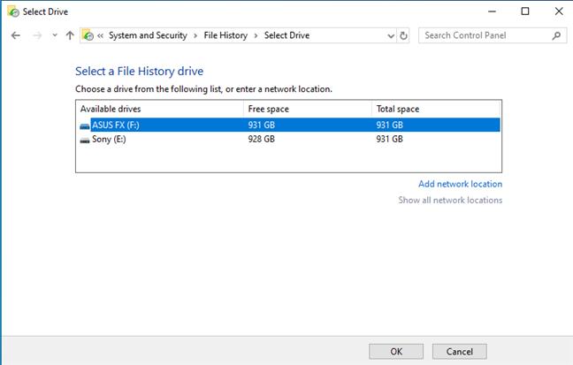 Cambiar la unidad del historial de archivos