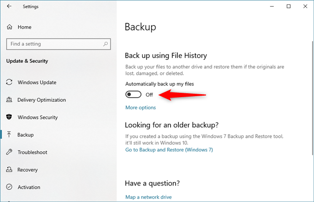 Disable the File History automatic backups