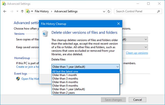 Elija las versiones anteriores de los archivos que desea eliminar