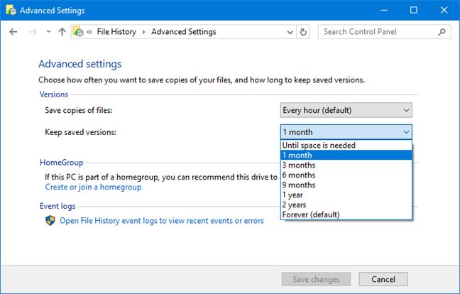 Historial de archivos: configuración avanzada