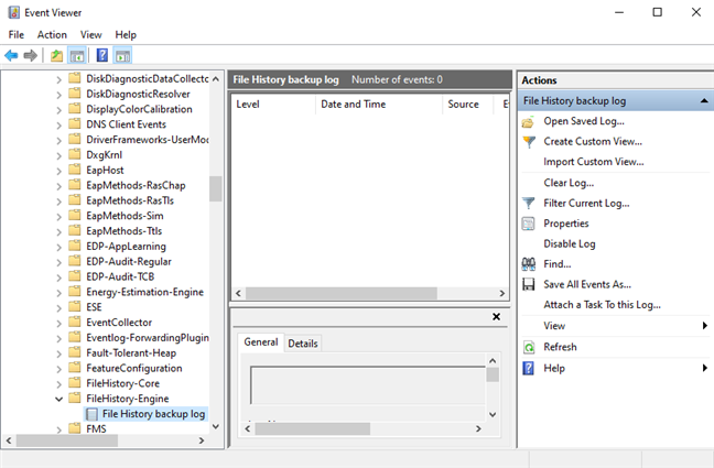 Event Viewer logs for File History