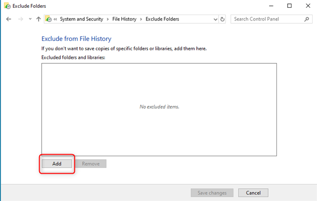 Add folders to exclude from File History