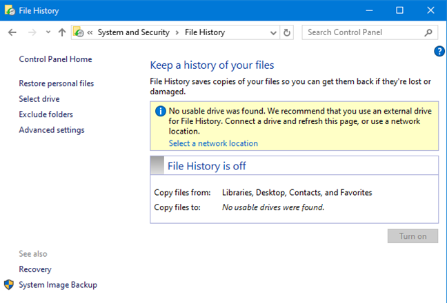 File History is off