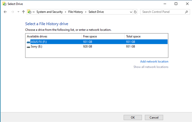 Select the drive for File History