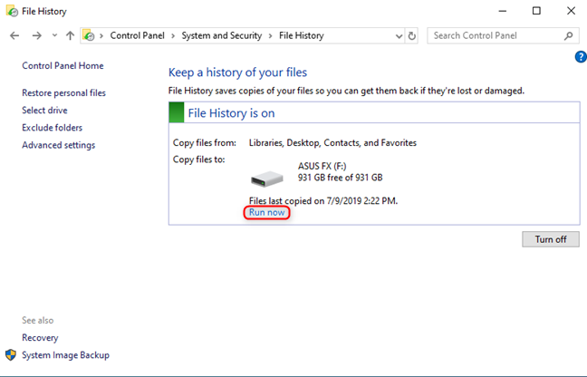 Manually run a File History backup