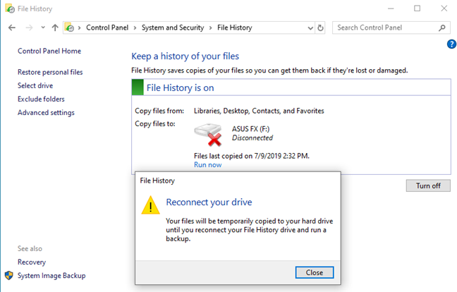 File History asks you to reconnect your drive