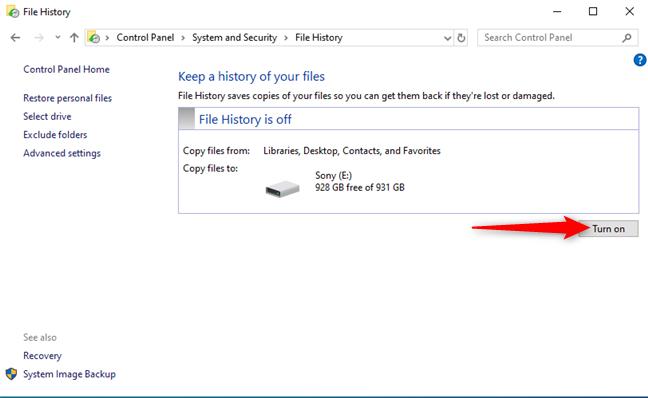 Turn File History on
