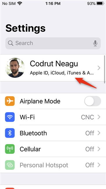 The Apple ID entry from the Settings app