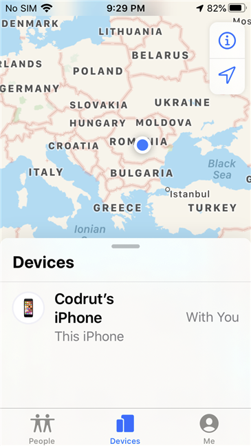 Find My iPhone showing the location of an iPhone