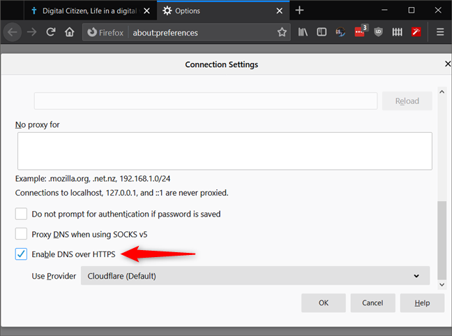 The Enable DNS over HTTPS setting from Firefox's Connection Settings