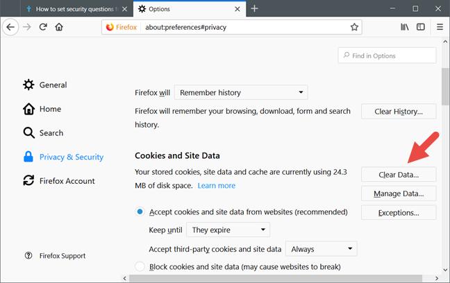 Firefox, cookies