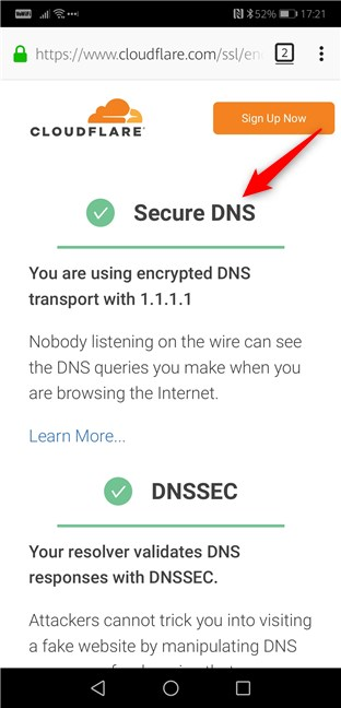 Firefox for Android using DNS over HTTPS