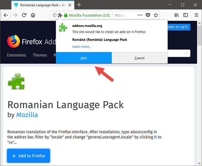 Mozilla Firefox, Change language