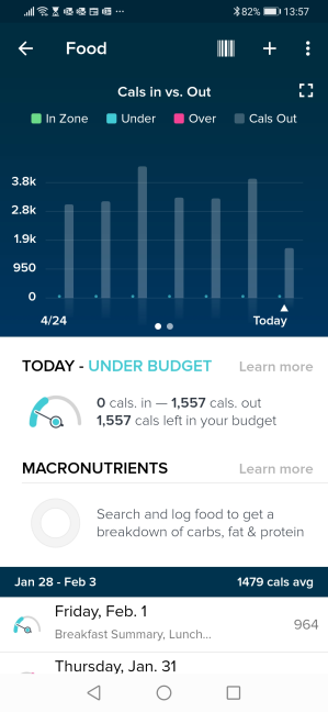 The Food log in the Fitbit app
