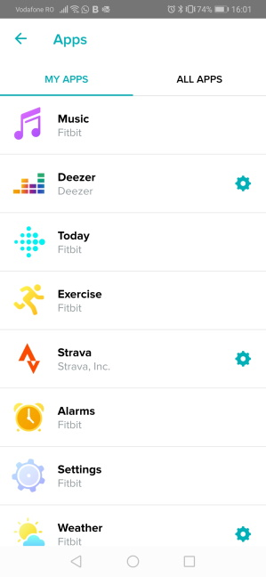 The apps installed on the Fitbit Versa 2