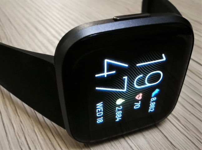 Fitbit Versa 2 displaying data on the screen