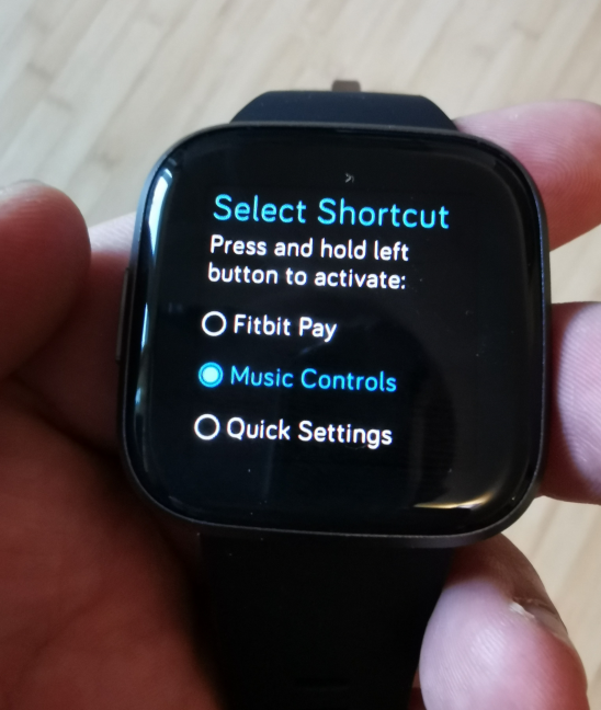Fitbit Versa 2 - setting what the long press does