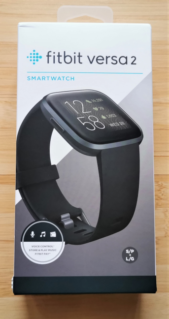 The packaging of the Fitbit Versa 2