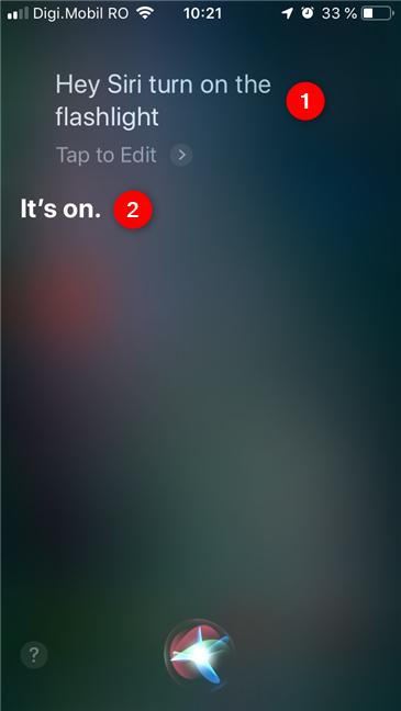 Asking Siri to turn on the flashlight