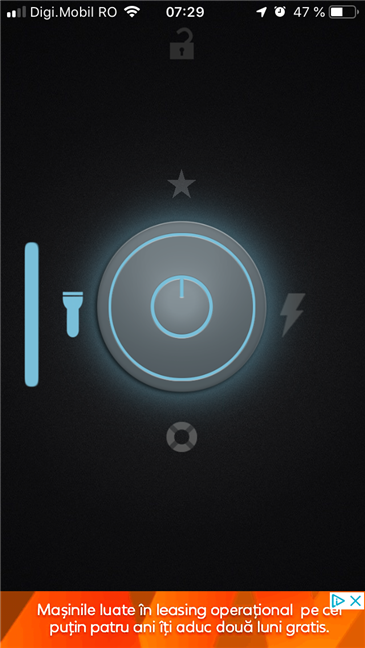 What a Flashlight app's interface looks like