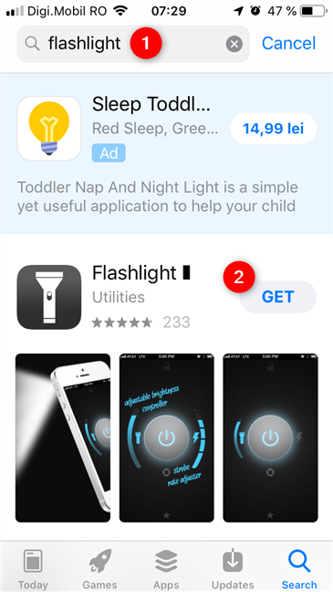 Searching and installing a flashlight app from the App Store