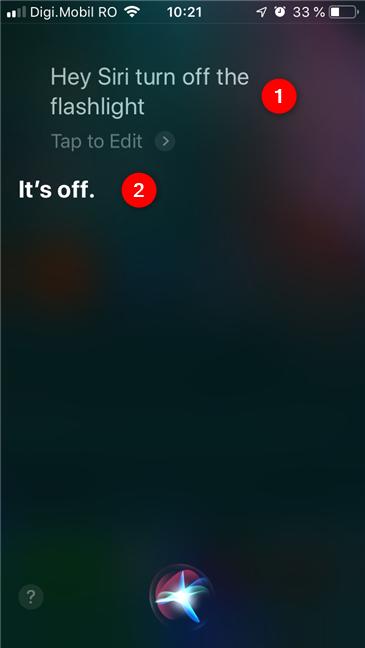 Asking Siri to turn off the flashlight