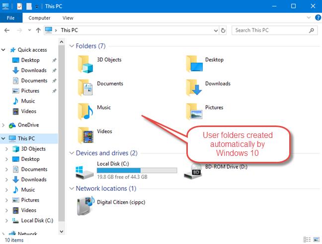 The standard user folders created by Windows 10